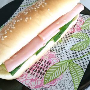 コストコホットドッグパンで作るハムキュウリサンド