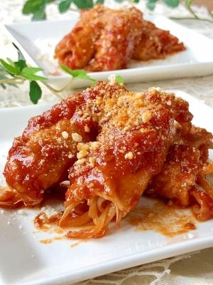 イタリアン風♫もやしの肉巻きトマトソース煮込み