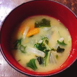 水菜とかぼちゃのお味噌汁