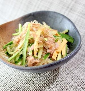 0kcal海藻麺でツナとチーズの春雨風サラダ