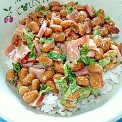 納豆の食べ方-焼豚♪