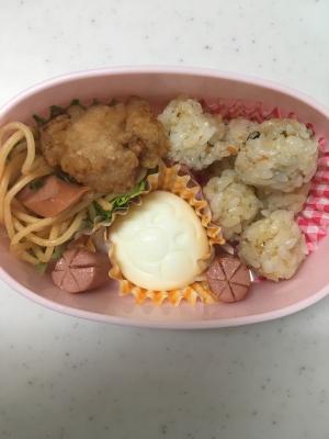 アンパンマンゆで卵と和風スパゲティお弁当(^○^)