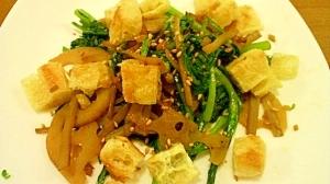 副菜にどうぞ。春菊と根菜、油揚げのさっと炒め