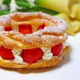 HMで簡単♪苺パリブレスト♡シュークリーム♡鍋不要