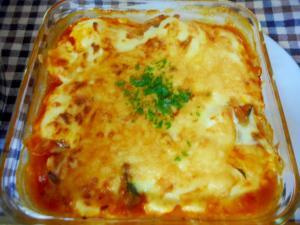 カボチャとキャベツのトマト煮グラタン