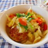 肉団子とキャベツと菜の花のカレー蒸し煮