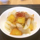 ごろごろポテトと豚肉、新玉の塩胡椒炒め♪
