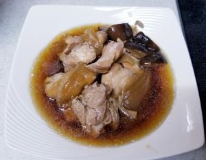 玉ねぎ、椎茸、鶏もも肉の醤油煮込み☆電気圧力鍋