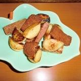 スパムとニンニクの炒め物