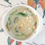 茄子、わさび菜、えのきの豆乳スープ