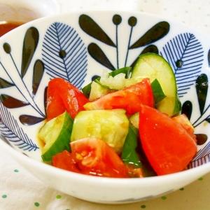 きゅうりとトマトのさっぱり中華タレかけ