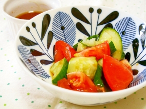 きゅうりとトマトのさっぱり中華タレかけ♪