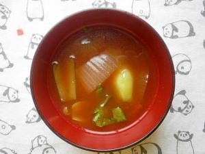 新玉ねぎ・チンゲン菜の赤だし味噌汁
