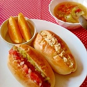 *朝食に♪ホットドッグ&たまごパン*