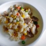 幼児食*ミックスベジタブルとチキンのカラフルご飯