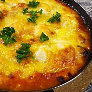 グリルパンで簡単、うずらの卵のトマト焼き