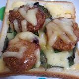 大葉とつくねのチーズトースト