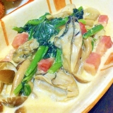 牡蠣とホウレン草のクリーム煮