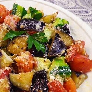 焼きなす、トマト、きゅうりのサラダ