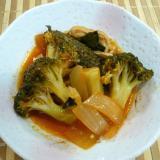 鶏皮とブロッコリーのトマト煮