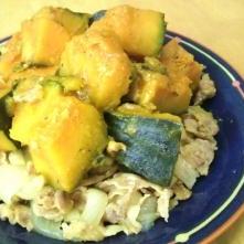 甘さ控えめ さっぱりな かぼちゃと豚肉の生姜煮