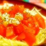 簡単すぎるサラダ!キャベツ&クリームチーズ&トマト