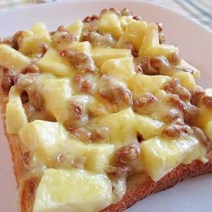 美味!りんごと納豆のマヨチーズトースト♪