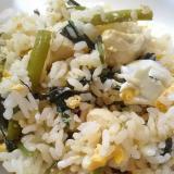 空芯菜と鶏むね肉のチャーハン(^^)