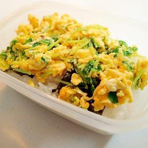 お弁当 海苔と豆苗卵炒め丼