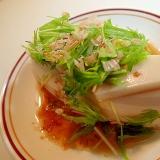麺つゆで 板蒲鉾と水菜とおかかの冷奴