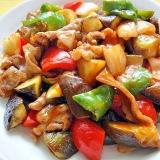 茄子とパプリカ豚肉の甘酢炒め