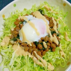 マヨドレッシングで☆納豆とキャベツのサラダ