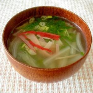 カニカマ入り!白菜とみつ葉の中華風スープ♪
