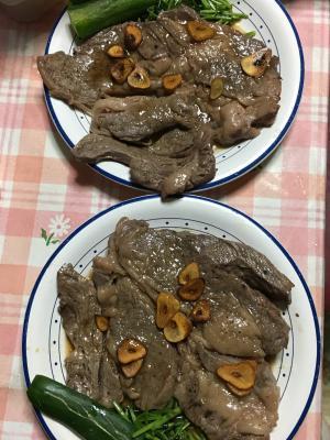 牛肉と空心菜の和風ステーキ