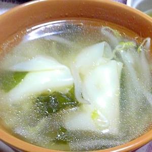 ワンタンともやしの中華スープ