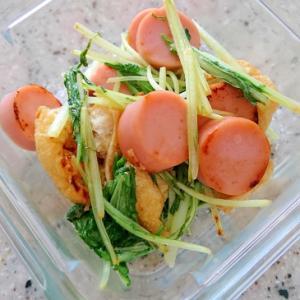 水菜と魚肉ソーセージのオイスターマヨ炒め