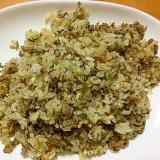 牛ひき肉と玉ねぎの高菜チャーハン(味噌味)