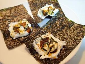 おつまみに 水切りYGとキューちゃんの海苔サンド