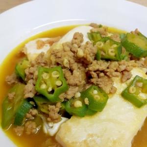 豆腐ソテー(^^)豚ひき肉とオクラのカレーソース♪