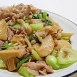 豚肉とたけのこと青梗菜のオイスターソース炒め