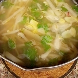 大根とセロリのめんつゆあごだしパスタスープ