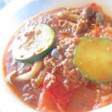 ズッキーニと牛豚挽肉とトマトしめじのグリル