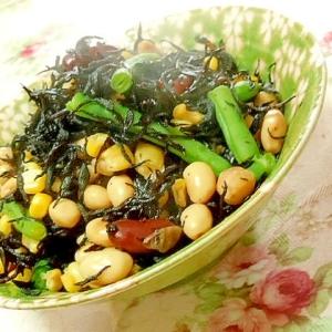 めんつゆde❤インゲンと大豆水煮とひじきの煮物❤