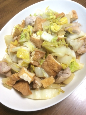 白菜と厚揚げと鶏肉のオイスターソース煮