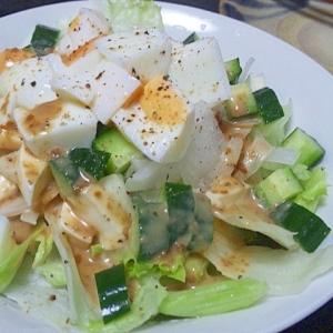 モッツアレラ1個で①生~野菜とたまごのサラダ