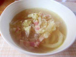 圧力鍋でキャベツと大根+ベーコンのコンソメスープ