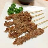 牛こま肉で粗挽き塩コショウ味の牛串♡