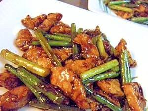 鶏肉とにんにくの芽の味噌炒め