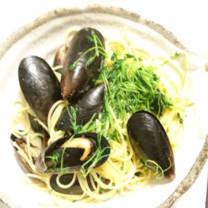 コストコムール貝の豆苗パスタ