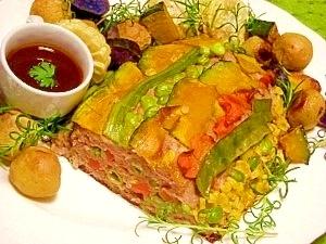 減塩☆彩り野菜のミートローフ